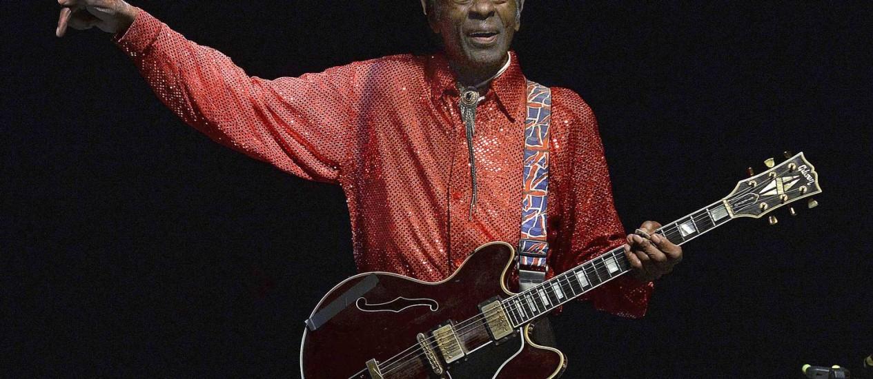 O cantor e compositor Chuck Berry Foto: PABLO PORCIUNCULA / AFP