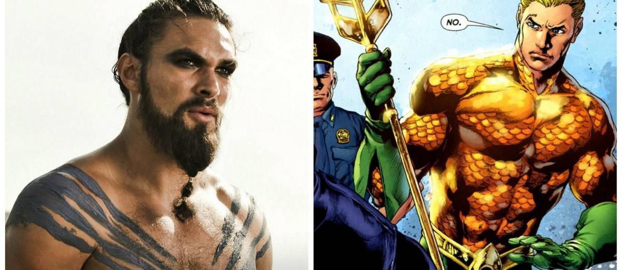 Jason Momoa como Khal Drogo. Ao lado, o Aquaman. Foto: REPRODUÇÃO