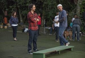 Wagner Moura e José Padilha no set de 'Rio, eu te amo' Foto: Gui Maia e Daniel Behr / Divulgação