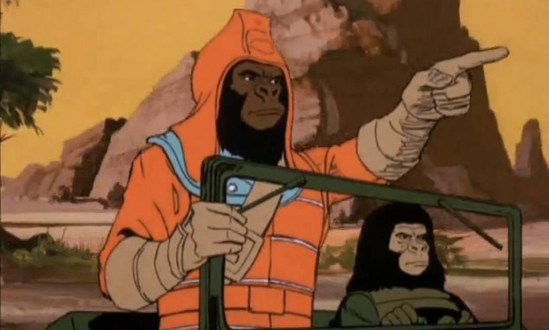 Em 1975, foi a vez da série animada de 'O planeta dos macacos'. Mas a nova empreitada da saga na TV também fracassou, e o desenho foi cancelado depois de apenas três episódios. Foto: Reprodução