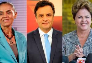 Marina Silva, Aécio Neves e Dilma Rousseff Foto: Arte