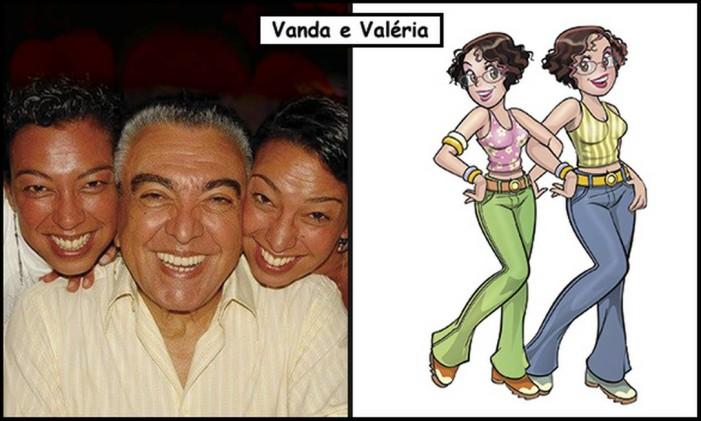 Vanda Signorelli e Sousa e Valéria Signorelli e Sousa são as gêmes Vanda e Valéria nos quadrinhos Foto: Divulgação