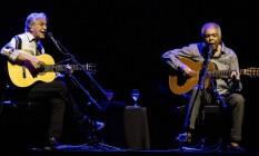 Dupla levou a turnê 'Dois amigos, um século de música' a Tel Aviv Foto: JACK GUEZ / AFP