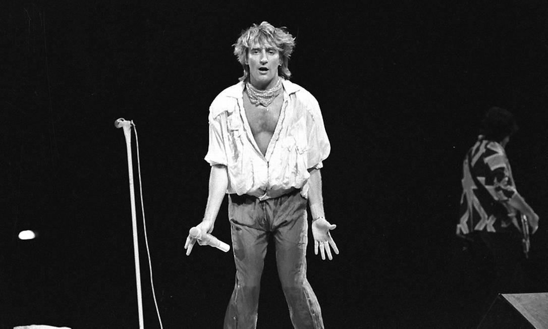 Rod Stewart foi um dos principais nomes internacionais do Rock in Rio de 1985 Foto: Arquivo O Globo