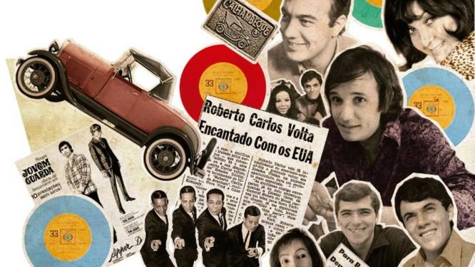 Os representantes da jovem guarda ao lado de matérias de época e objetos de suas músicas Foto: Arte de André Mello com fotos de arquivo