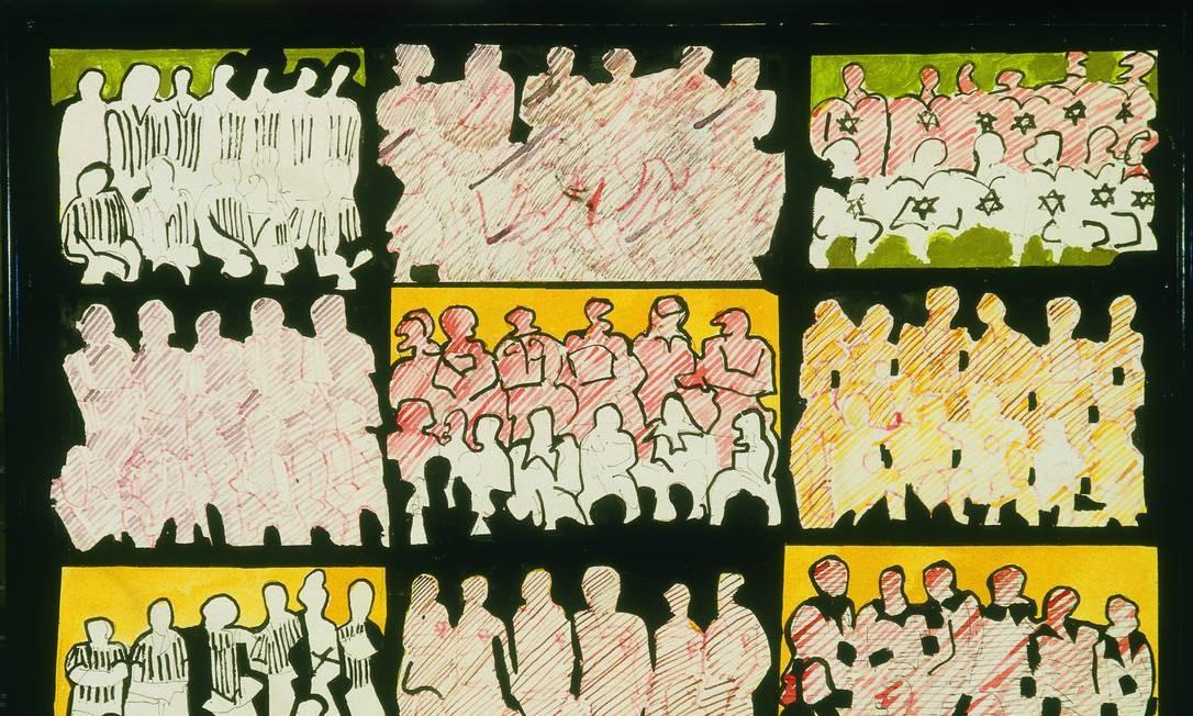 'Os 99 heróis do estádio', de 1965, obra de Rubens Gerchman no MAM Foto: Divulgação