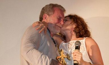Jonas Bloch com a filha, Débora Bloch, no Cine PE Foto: Daniela Nader / Divulgação