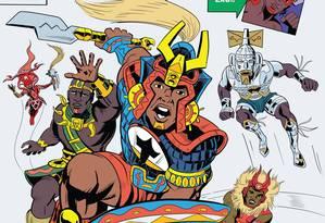 """Capa de """"The Orixas"""", inspirada na estética dos quadrinhos de """"Os Vingadores"""" Foto: Hugo Canuto"""
