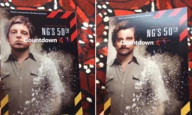 As duas versões do convite da festa de aniversário do líder do Oasis Foto: Reprodução