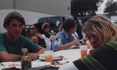 """O cantor Kurt Cobain durante as gravações do clipe """"Smells like teen spirit"""", em 18 de agosto de 1991, na Califórnia Foto: Divulgação"""