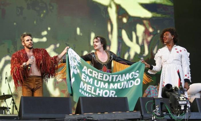 Johnny Hooker, Liniker e Almério comandam Palco Sunset Foto: Barbara Lopes / Agência O Globo