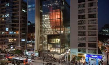 Fachada do novo IMS Paulista, com projeto do escritório Andrade Morettin: obras começaram em 2014 Foto: Bruno Fernandes / Divulgação