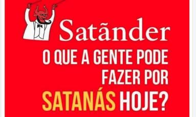Internautas contrários à exposição criaram memes contra o banco Santander Foto: Crowdtangle