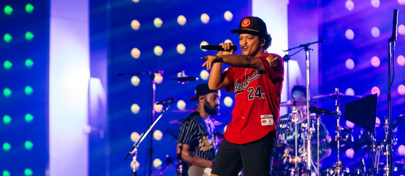 O cantor Bruno Mars em show na Apoteose Foto: Florent Dechard / Divulgação/RDJ Photos