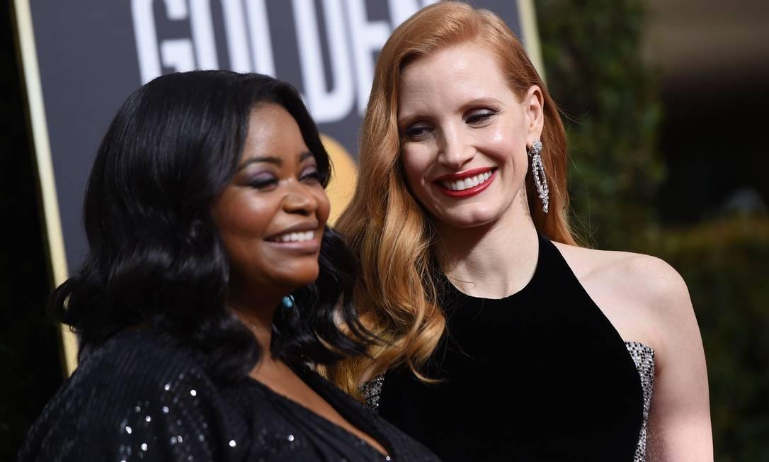 Jessica Chastain (à direita) e Octavia Spencer Foto: VALERIE MACON / AFP