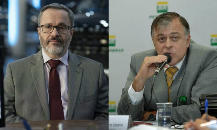 Leonardo Medeiros em 'O mecanismo'; e Paulo Roberto Costa, ex-diretor da Petrobras Foto: Divulgação