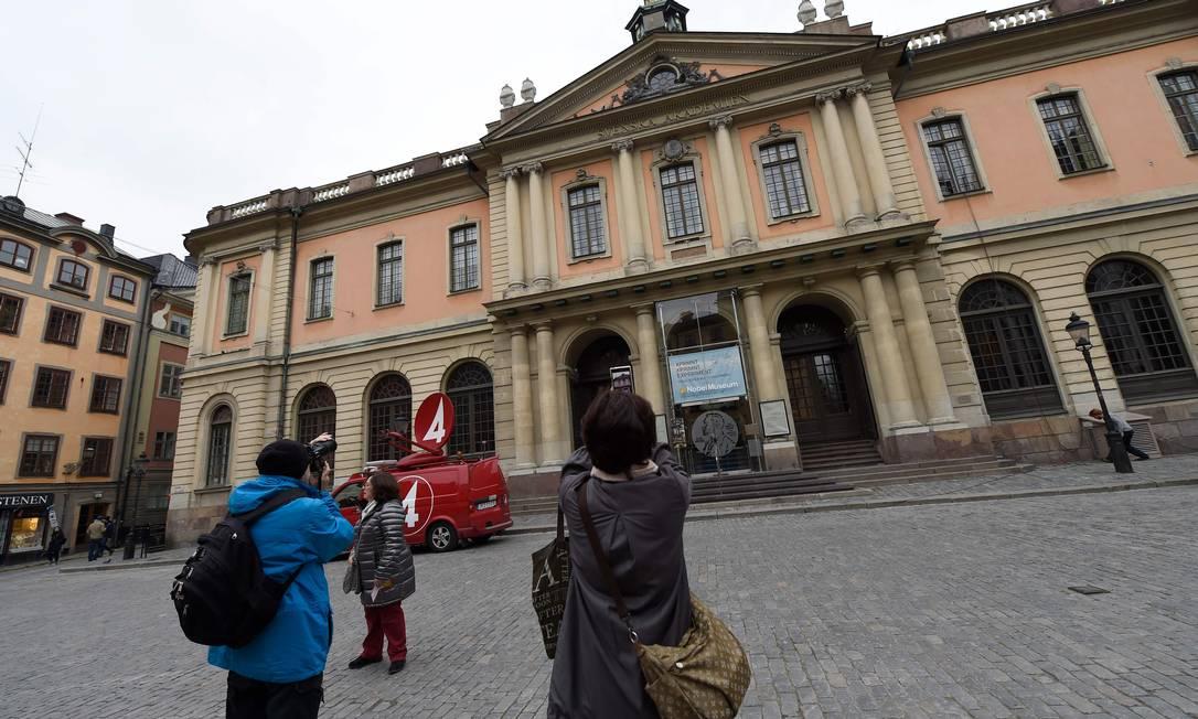 Fachada da Academia Sueca, em Estocolmo Foto: JONATHAN NACKSTRAND / AFP
