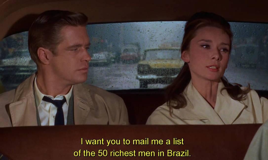 No clássico 'Bonequinha de luxo', Holly (Audrey Hepburn) diz a Paul (George Peppard) que quer fugir para o Brasil Foto: Divulgação