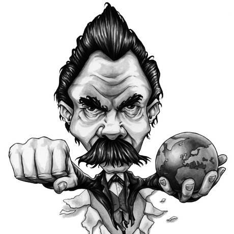 Ilustração de Nietzsche, do livro 'O que Nietzsche faria?', de Marcus Weeks Foto: Divulgação/Gareth Southwell Illustration