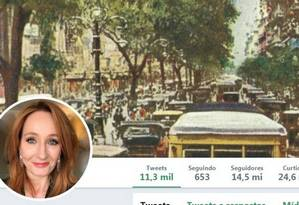 Cabeçalho do Twitter de J.K. Rowling com foto do Rio Foto: Reprodução