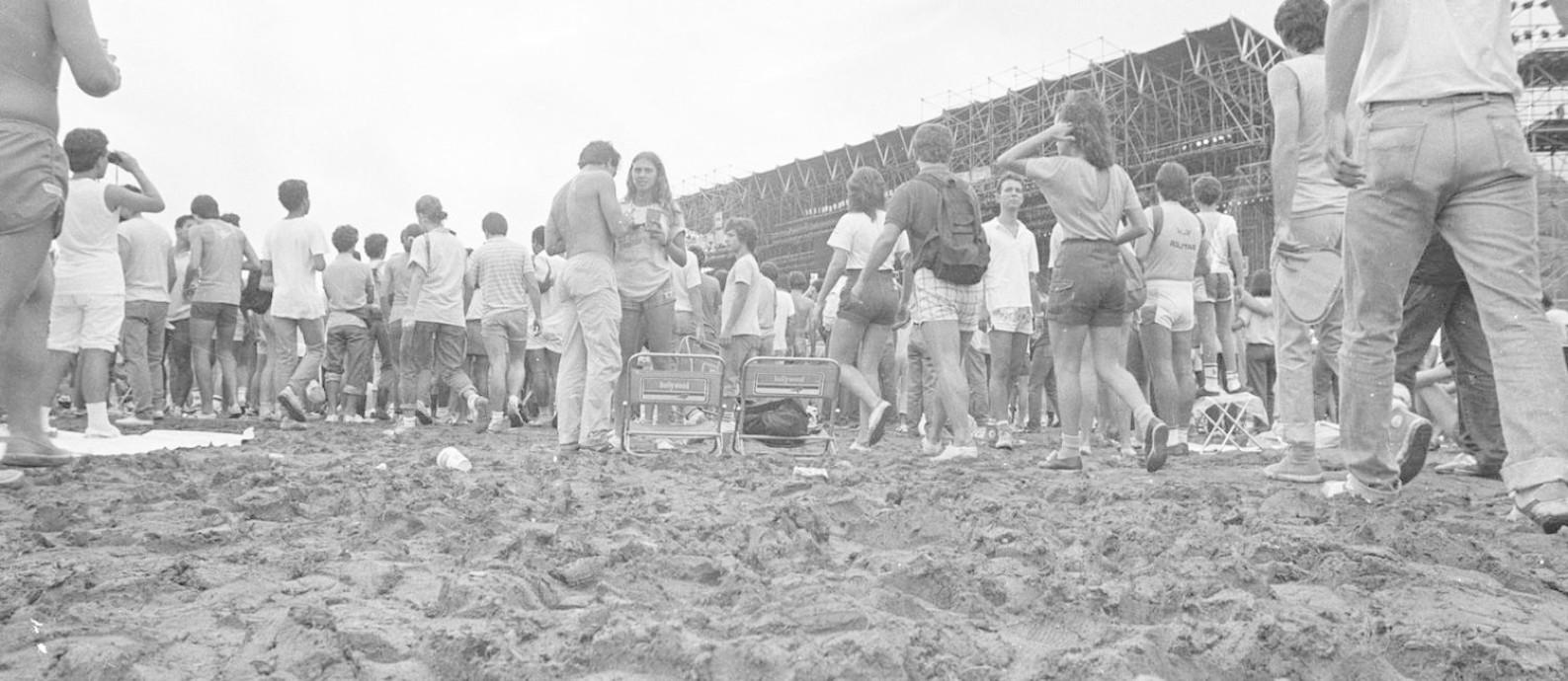 A Cidade do Rock de 1985 e seu chão enlameado Foto: Divulgação/Rock in Rio / Divulgação