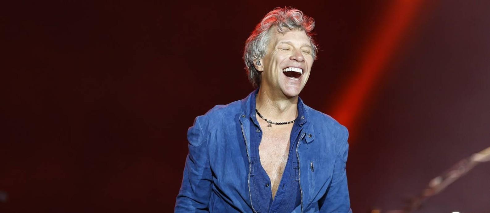Jon Bon Jovi durante apresentação no palco mundo do Rock in Rio 2017 Foto: Pablo Jacob / Agência O Globo