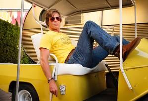 """Brad Pitt em """"Era uma vez em Hollywood"""" Foto: Andrew Cooper / Divulgação/Columbia Pictures"""