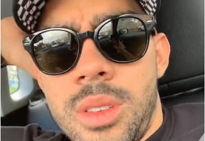 Gabriel Diniz em storie desejando bom dia aos seguidores logo antes de embarcar em avião Foto: Reprodução Instagram
