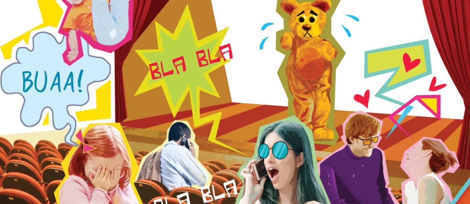 Em espetáculos infantis, plateia acha que pode falar alto e se entreter com celular Foto: Arte de André Mello / Agência O Globo