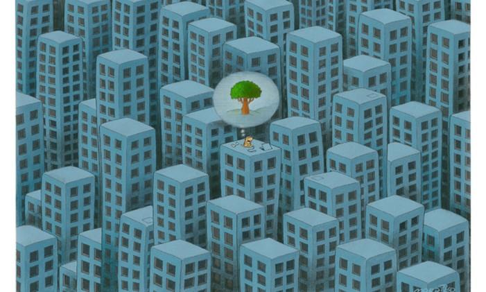 Selva de pedra: em meio ao concreto de prédios, um cachorro imagina uma árvore Foto: Reprodução