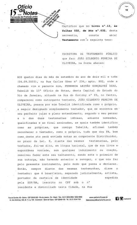 O testamento de João Gilberto, de 2003 Foto: reprodução / Reprodução
