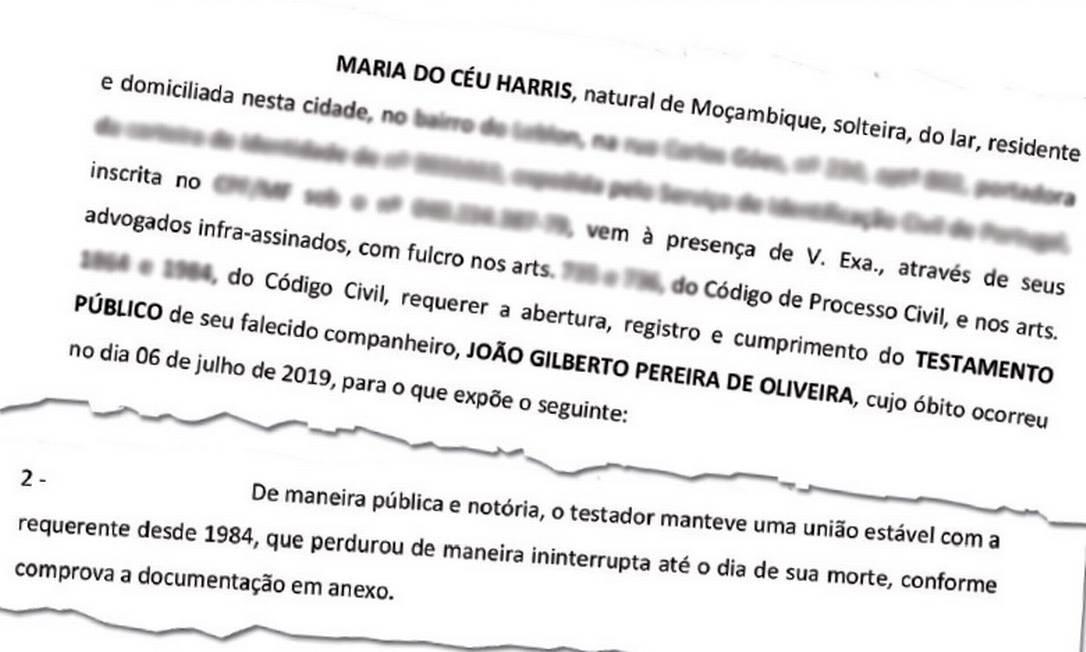 Petição de Maria José Harris requerendo o reconhecimento de união estável com João Gilberto Foto: Reprodução