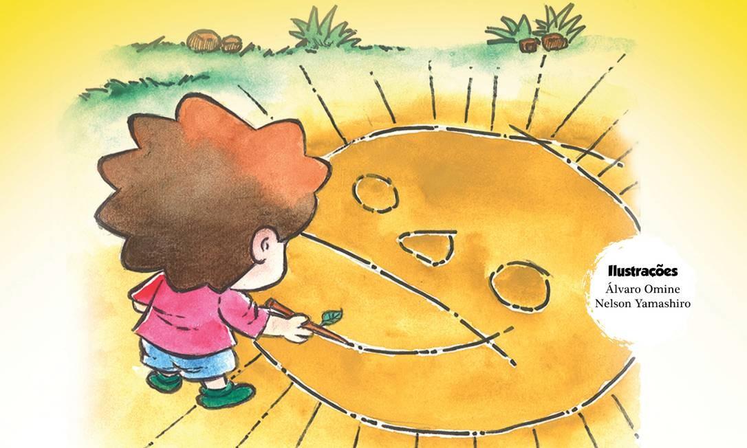 """""""Sol com boca de sal"""". Autora: Meg Antunes. Editora: Selo OFF Flip. Ilustrações: Álvaro Omine e Nelson Yamashiro. Páginas: 20. Preço: R$ 20. A história se passa na Vila do Abraão, em Ilha Grande. O menino Ronaldinho não gosta de chuva, pois o impede de brincar na praia. Ele, então, decide fazer uma simpatia: desenha um sol no chão, coloca sal e repete uma frase. No fundo do quintal de sua casa, há um quartinho que esconde um misterioso tesouro. Será que são os segredos do mar? Foto: Reprodução"""