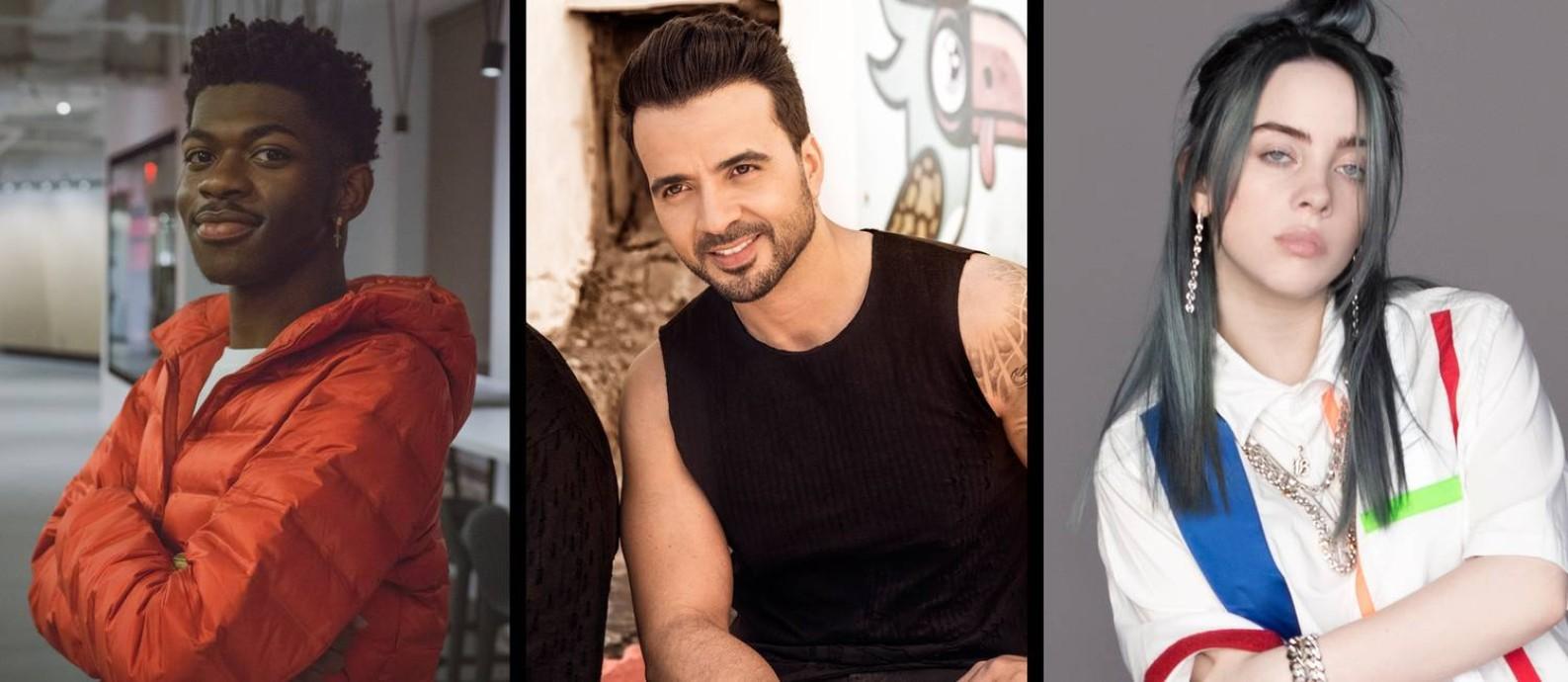 Lil Nas X, Luis Fonsi e Billie Eilish: artistas fazem versões 'remix' para sucessos Foto: Arte / Agência O Globo
