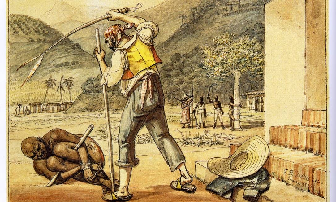 A escravidão retratada por Jean-Baptiste Debret Foto: Reprodução