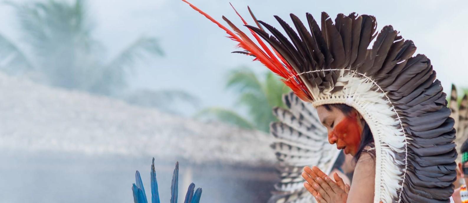 A pajé Putanny Yawanawá, durante o Festival Yawá, que apresenta a cultura e os rituais de sua aldeia, no alto Rio Gregório, em Tarauacá, no Acre Foto: Divulgação/Alexandre Noronha