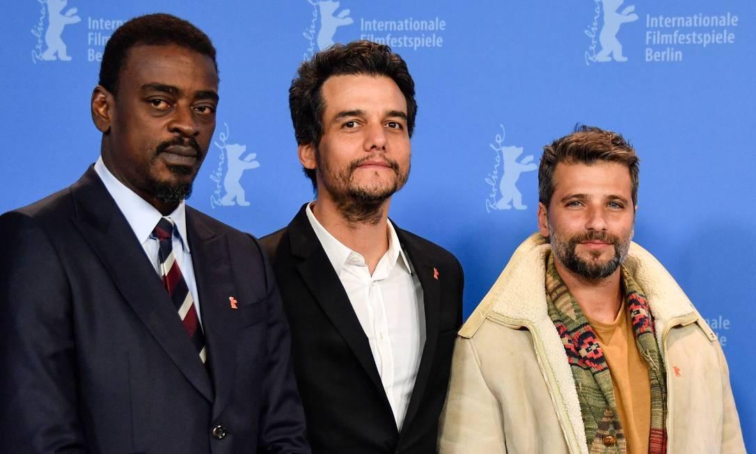 Seu Jorge, Wagner Moura e Bruno Gagliasso no Festival de Berlim, em fevereiro do ano passado Foto: JOHN MACDOUGALL / AFP