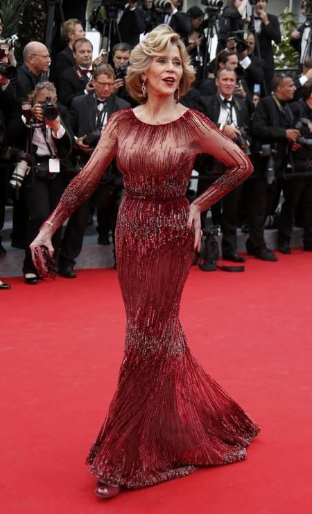 Jane Fonda no tapete vermelho de Cannes, em 2014 Foto: Reuters