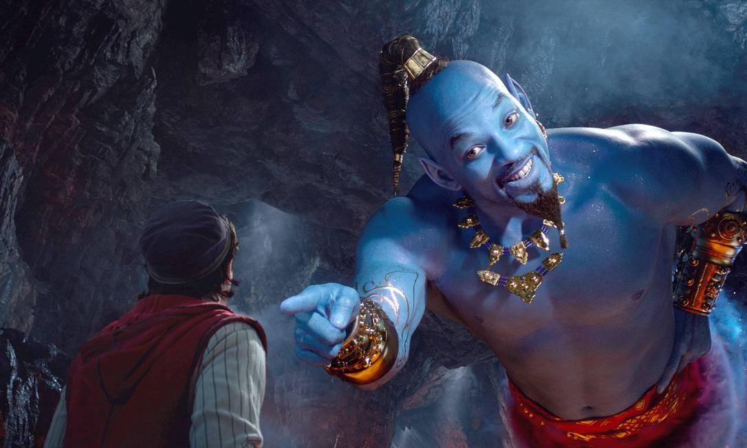 Will Smith interpreta o Gênio em Aladdin: expectativa é para retorno ao papel na sequência preparada pela Disney Foto: Divulgação / Disney