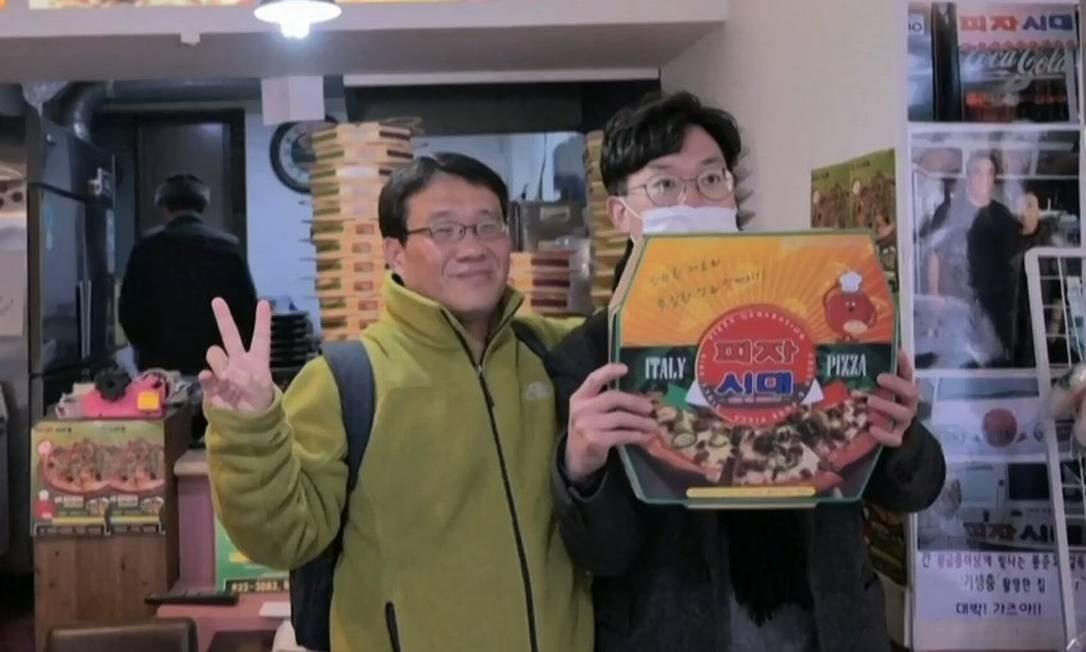 Sky Pizza, localizada em Seul, se tornou point após consagração de 'Parasita' no Oscar Foto: Reprodução