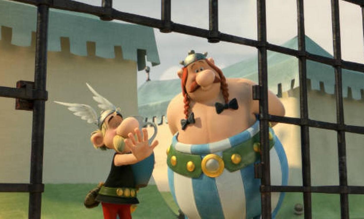 Asterix e Obelix no filme de animação 'Asterix e o domínio dos deuses', que estreou em 2014, dirigido por Louis Clichy e Alexandre Astier Foto: Divulgação
