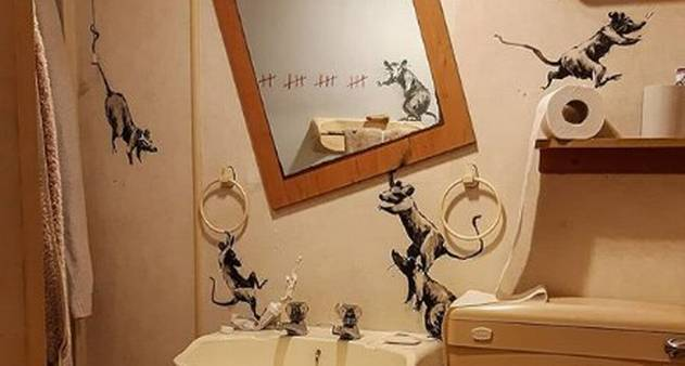 Sem poder ir para a rua, Banksy cria obra no banheiro de casa - Jornal O  Globo