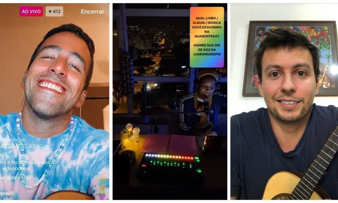 Julio Secchin, Mahmundi e Thiago Risi: cada um a sua maneira, reunindo amigos e fãs, em suas modestas lives Foto: Reprodução