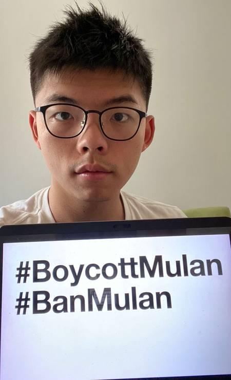 Joshua Wong, ativista pró-democracia de Hong Kong, prega boicote a 'Mulan'. Foto: JOSHUA WONG VIA TWITTER / JOSHUA WONG VIA TWITTER