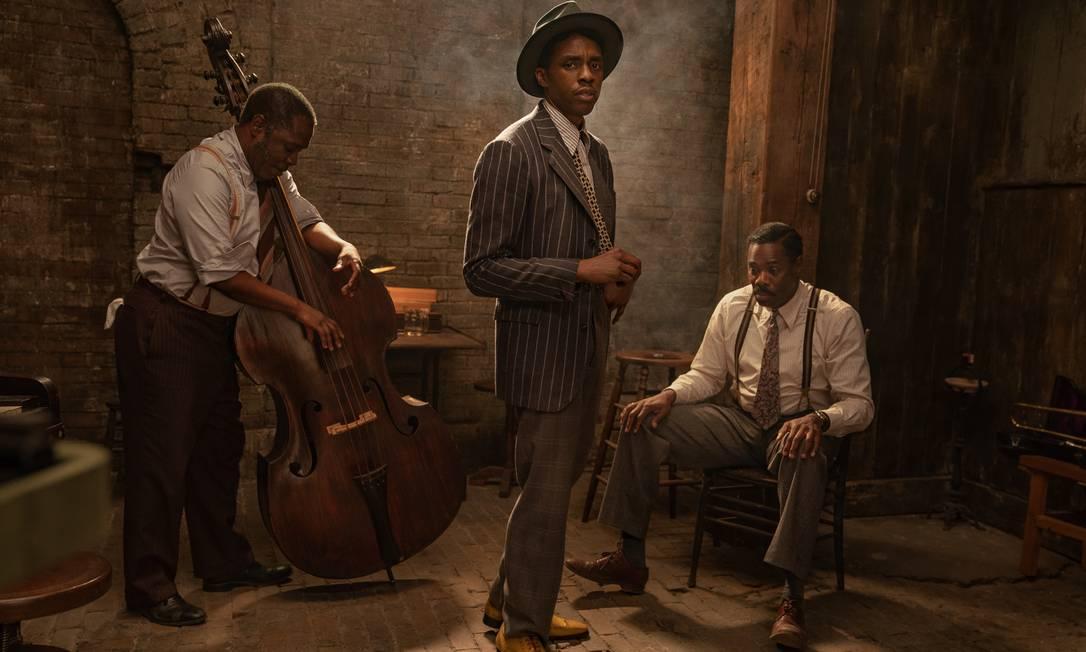 Chadwick Boseman interpreta Levee, trompetista impetuoso e membro da banda de Ma Rainey Foto: Divulgação