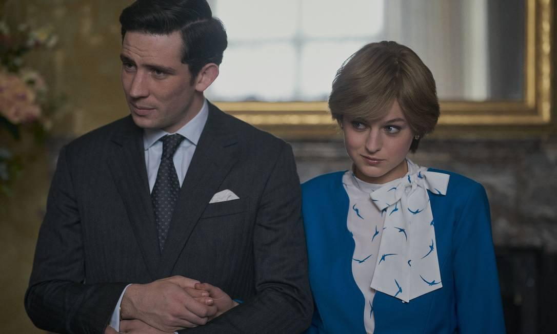 Príncipe Charles (Josh O' Connor) e Princesa Diana (Emma Corrin): entre o real e a ficção Foto: Des Willie / Netflix