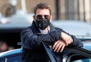 Tom Cruise durante filmagens de 'Missão: Impossível 7' em Roma, na Itália, no mês de outubro Foto: Guglielmo Mangiapane / Reuters