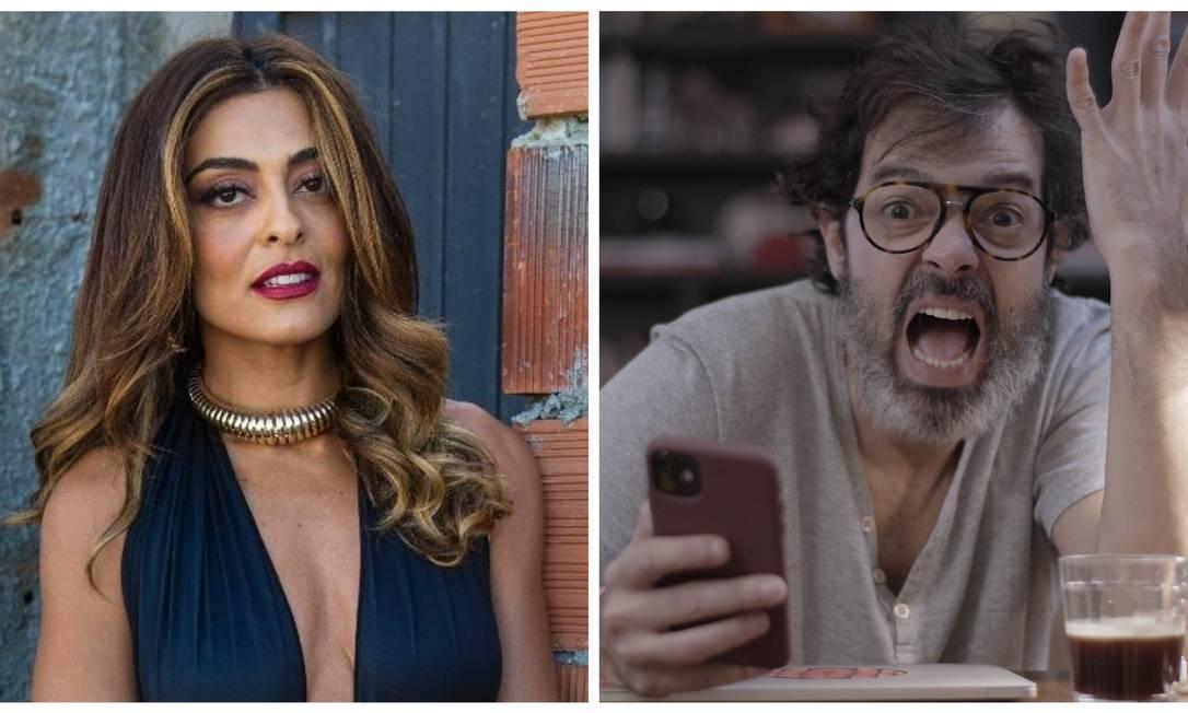Juliana Paes, a Bibi Perigosa de 'A força do querer', e Bruno Mazzeo, que interpretou Murilo na série 'Diário de um confinado' Foto: Divulgação
