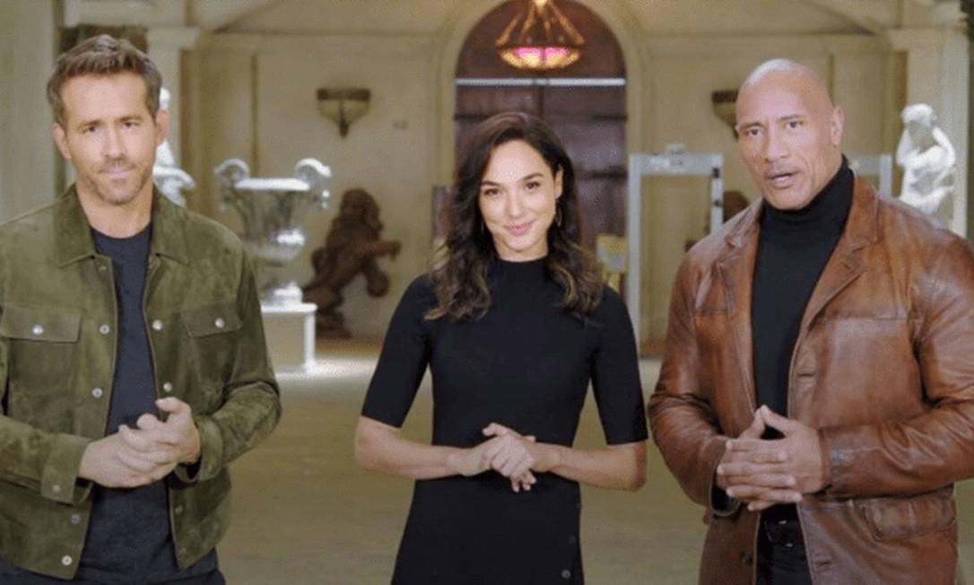 Ryan Reynolds, Gal Gadot e Dwayne 'The Rock' Johnson anunciam pacote de lançamentos para 2021 Foto: Reprodução