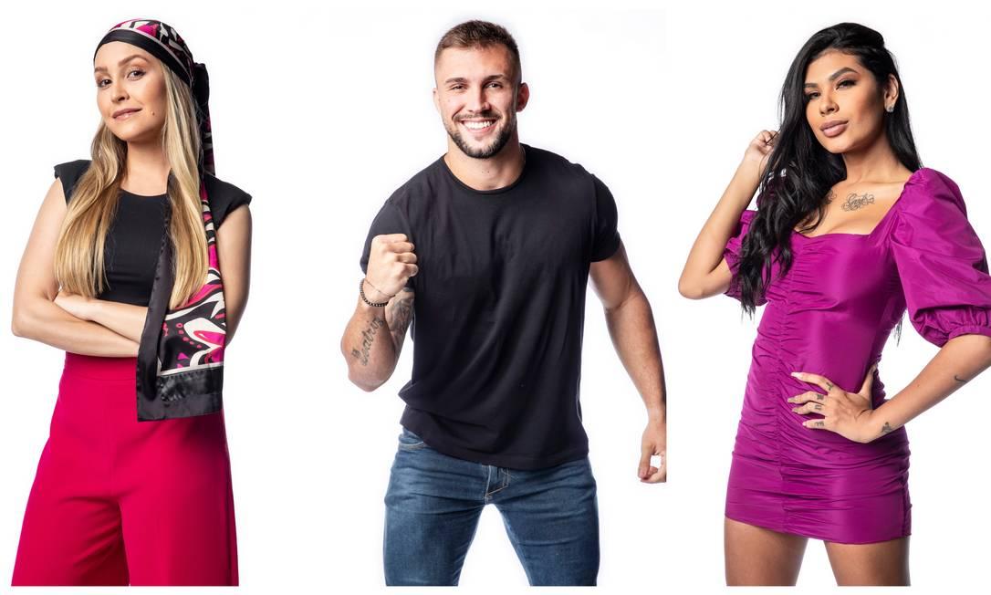 Carla Diaz, Arthur e Pocah: três representantes do Sudeste torcedores do Flamengo Foto: Fabio Rocha / Globo
